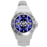 Fractal Fantasy Blue Beauty Round Plastic Sport Watch (L) Front