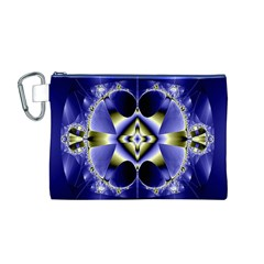 Fractal Fantasy Blue Beauty Canvas Cosmetic Bag (m)