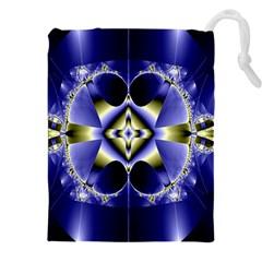 Fractal Fantasy Blue Beauty Drawstring Pouches (XXL)