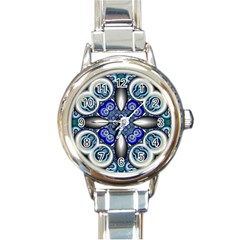Fractal Cathedral Pattern Mosaic Round Italian Charm Watch
