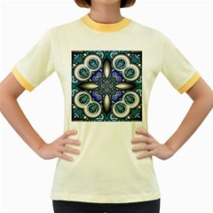 Fractal Cathedral Pattern Mosaic Women s Fitted Ringer T-Shirts