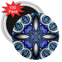 Fractal Cathedral Pattern Mosaic 3  Magnets (100 pack)