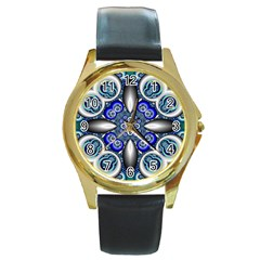 Fractal Cathedral Pattern Mosaic Round Gold Metal Watch