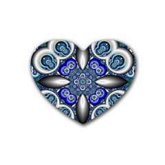 Fractal Cathedral Pattern Mosaic Rubber Coaster (Heart)