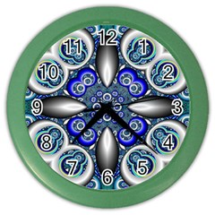 Fractal Cathedral Pattern Mosaic Color Wall Clocks