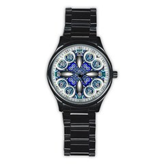 Fractal Cathedral Pattern Mosaic Stainless Steel Round Watch
