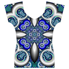 Fractal Cathedral Pattern Mosaic Women s V-Neck Cap Sleeve Top