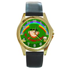 St. Patrick s day Round Gold Metal Watch