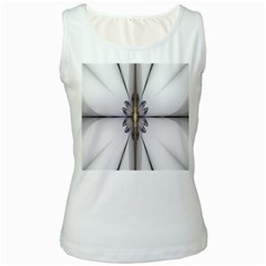 Fractal Fleur Elegance Flower Women s White Tank Top