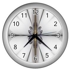 Fractal Fleur Elegance Flower Wall Clocks (Silver)