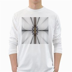 Fractal Fleur Elegance Flower White Long Sleeve T-Shirts