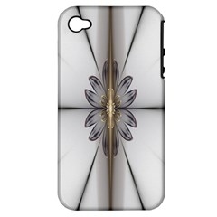 Fractal Fleur Elegance Flower Apple Iphone 4/4s Hardshell Case (pc+silicone)