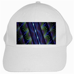 Fractal Blue Lines Colorful White Cap