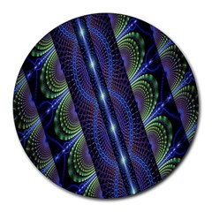 Fractal Blue Lines Colorful Round Mousepads