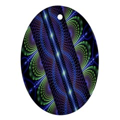 Fractal Blue Lines Colorful Ornament (Oval)