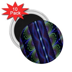Fractal Blue Lines Colorful 2.25  Magnets (10 pack)