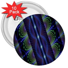 Fractal Blue Lines Colorful 3  Buttons (10 pack)