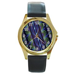 Fractal Blue Lines Colorful Round Gold Metal Watch