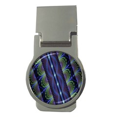 Fractal Blue Lines Colorful Money Clips (Round)