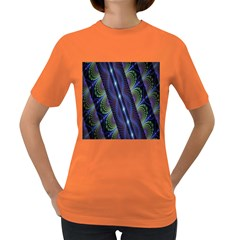 Fractal Blue Lines Colorful Women s Dark T Shirt