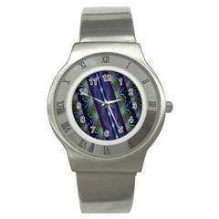 Fractal Blue Lines Colorful Stainless Steel Watch