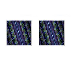 Fractal Blue Lines Colorful Cufflinks (Square)