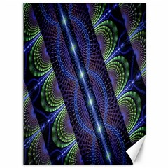 Fractal Blue Lines Colorful Canvas 36  x 48