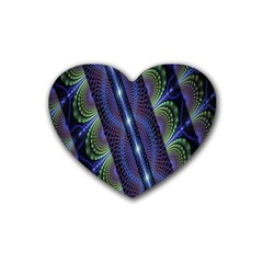 Fractal Blue Lines Colorful Rubber Coaster (Heart)