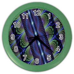 Fractal Blue Lines Colorful Color Wall Clocks