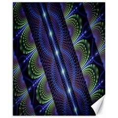 Fractal Blue Lines Colorful Canvas 11  x 14
