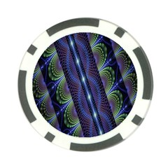 Fractal Blue Lines Colorful Poker Chip Card Guard