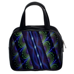 Fractal Blue Lines Colorful Classic Handbags (2 Sides)