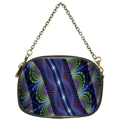 Fractal Blue Lines Colorful Chain Purses (One Side)