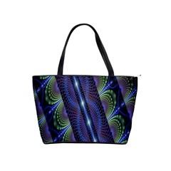 Fractal Blue Lines Colorful Shoulder Handbags