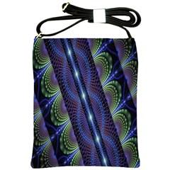 Fractal Blue Lines Colorful Shoulder Sling Bags