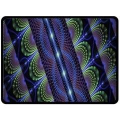 Fractal Blue Lines Colorful Fleece Blanket (Large)