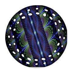 Fractal Blue Lines Colorful Round Filigree Ornament (Two Sides)