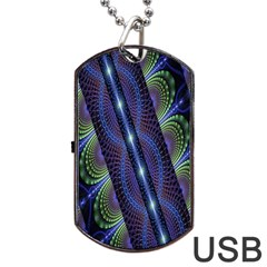 Fractal Blue Lines Colorful Dog Tag USB Flash (Two Sides)