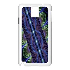 Fractal Blue Lines Colorful Samsung Galaxy Note 3 N9005 Case (White)