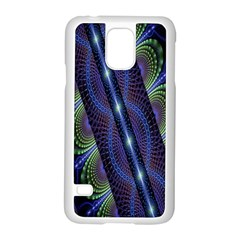 Fractal Blue Lines Colorful Samsung Galaxy S5 Case (White)