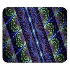 Fractal Blue Lines Colorful Double Sided Flano Blanket (small)