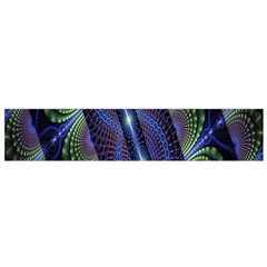 Fractal Blue Lines Colorful Flano Scarf (small)