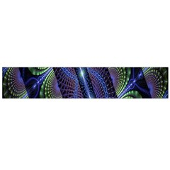 Fractal Blue Lines Colorful Flano Scarf (Large)