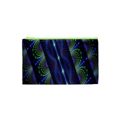 Fractal Blue Lines Colorful Cosmetic Bag (xs)