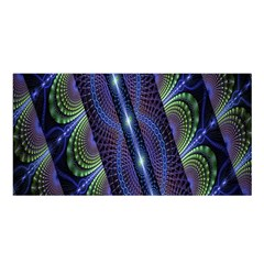 Fractal Blue Lines Colorful Satin Shawl
