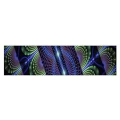 Fractal Blue Lines Colorful Satin Scarf (oblong)