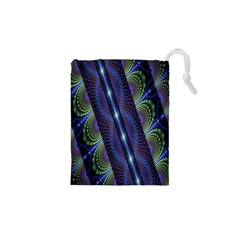 Fractal Blue Lines Colorful Drawstring Pouches (XS)