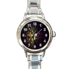 Fractal Flame Light Energy Round Italian Charm Watch