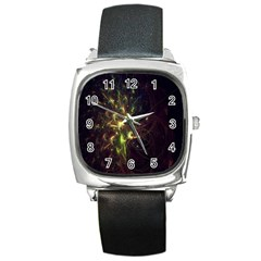 Fractal Flame Light Energy Square Metal Watch