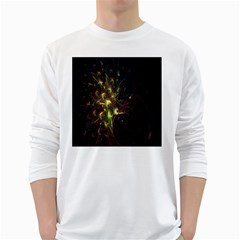 Fractal Flame Light Energy White Long Sleeve T-Shirts